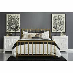 Beaumont Lane Queen Metal Slat Bed in Gold