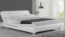 Full Size Upholstered Metal Platform Bed Frame Wood Slats Ma