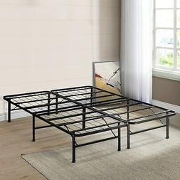 Queen Size Bed Frame Platform 14 Inch - Crown Comfort Black