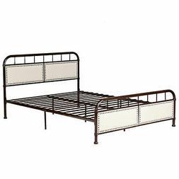 Queen Size Bedroom Metal Bed Frame Comfort Upholstered Panel