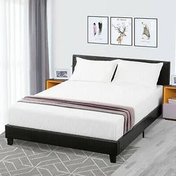 Queen Size Faux Leather Platform Bed Frame&Slats Upholstered