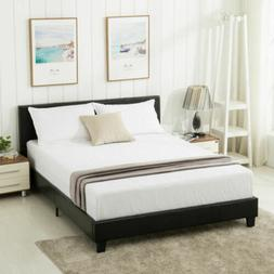 queen size faux leather platform bed frame