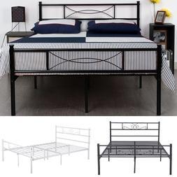 Queen Size Metal Bed Frame Bedroom Mattress Platform Foundat