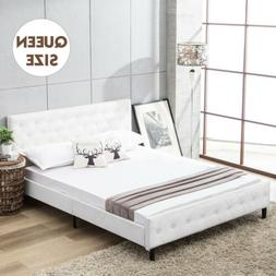 queen size metal bed frame pu leather