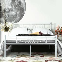 Queen Size Metal Bed Frame Sturdy Platform Mattress Foundati