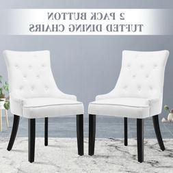 Set of 2 Fabric Accent Dining Chairs Button Tufted Upholster