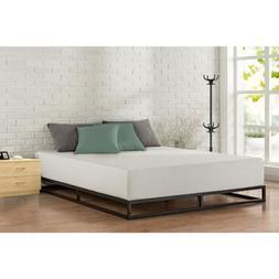 Queen Size Metal Platform Bed Frame With Wood Slats Bedroom