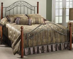 Queen size Metal Scrollwork & Wood Four-poster Bed Frame + H