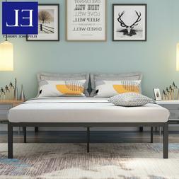 Queen Size Platform Bed Frame 14 Inch Mattress Steel Foundat