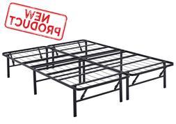Queen Size Platform Bed Frame Mattress Foldable 14 Inch Meta