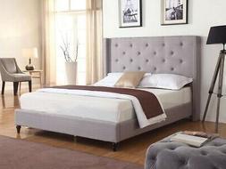 QUEEN SIZE PLATFORM BED FRAME Tufted Upholstered Headboard B