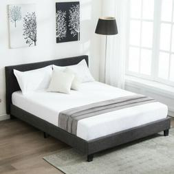Queen Size Platform Bed Frame Upholstered Gray Linen Headboa
