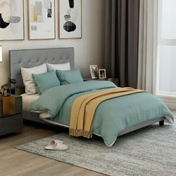 Queen Size Platform Bed Frame w/Tufted Headboard Upholstered