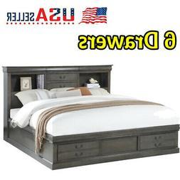 Queen Storage Bed Frame Platform Wood Beds With 6 Drawers Da