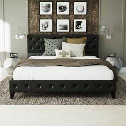 Queen Platform Metal Bed Frame w Upholstered Tufted Diamond