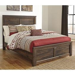 Ashley Quinden Wood King Panel Bed in Dark Brown
