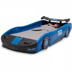 Race Car Twin Bed Children Turbo Blue Kids Boys Girls Bedroo