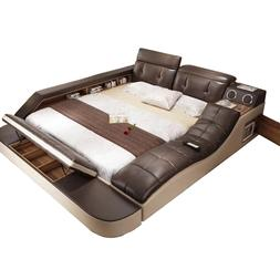 real genuine leather <font><b>bed</b></font> with massage /d