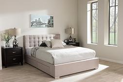 Baxton Studio Rene Queen Storage Platform Bed in Beige