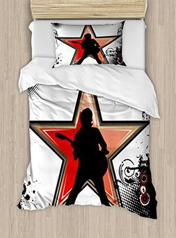 Ambesonne Rock Music Duvet Cover Set Twin Size, Guitar Playe