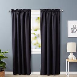 """AmazonBasics Blackout Curtain Set - 52"""" x 84"""", Black"""