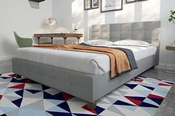 rose linen upholstered bed