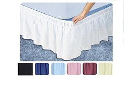Ruffled Solid Bed Skirt,Wrap Around Style,Elastic Bed Wrap R
