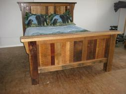 Rustic Barn Wood Furniture - TWIN Size Bed Frame -  Amish Ma