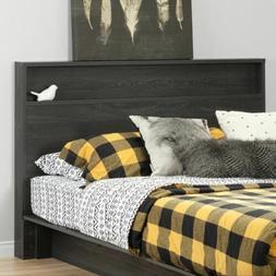 Rustic Gray Oak Full Queen Wooden Panel Headboard Storage Sh