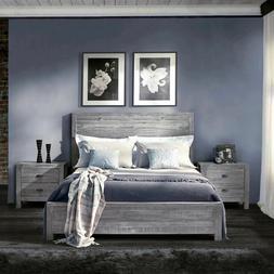 Rustic Platform Bed Frame Full Size with Headboard Bedroom D