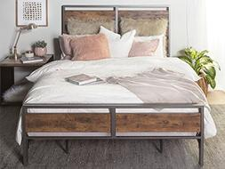 New Rustic Queen Size Metal and Wood Plank Bed-Includes Head