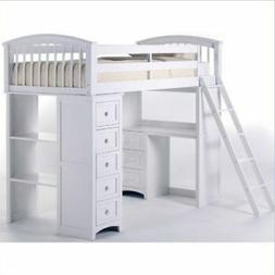 NE Kids School House Student Loft Bed in White