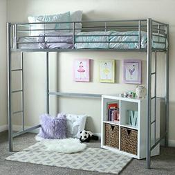 W. Designs Silver Metal Twin Loft Bunk Bed