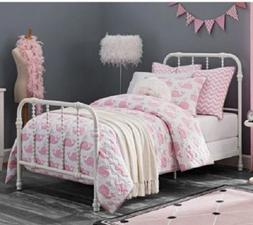 Single Bed Frame Twin White Antique Country Style Metal Beds