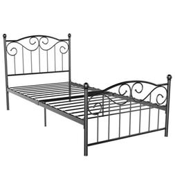 Single Metal Bed Frame Twin Size Bedstead Replacement Platfo