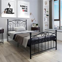 Twin Size Bed Heavy Duty Metal Bed Frame Headboard Footboard