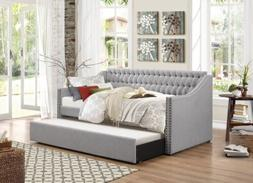 Homelegance Sleigh Daybed with Tufted Back Rest and Nail Hea