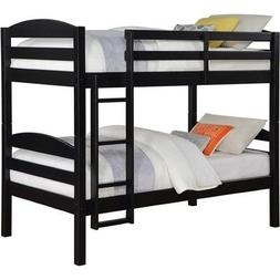 Solid Wood Twin Bunk Bed - Twin Over Twin in Black By Mainst