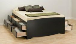 Prepac Sonoma Black Tall Queen Platform Storage Bed with 12