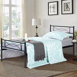 SimLife Metal Bed Frame Twin Size 6 Legs Two Headboards Matt
