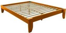 Copenhagen All Wood Platform Bed Frame, King, Medium Oak