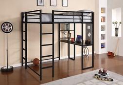 Student Loft Bed Frame with Desk Small Bookshelf Full Size M