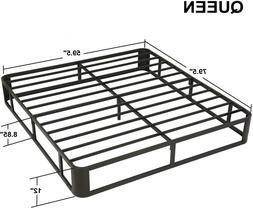 Sturdy Heavy Duty Queen Size Metal Bed Frame W/ Steel Slat M