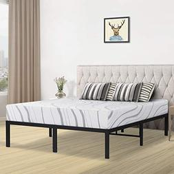 SLEEPLACE 14 Inch Heavy Duty Steel Slat Bed Frame/Non-Slip/U