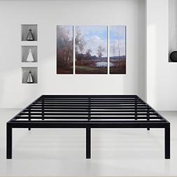 SLEEPLACE 14 inch Dura Comfort-T/Steel Slat Bed Frame/Black/