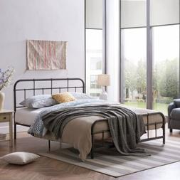 Sylvia Queen-Size Iron Bed Frame, Minimal, Industrial