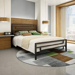 "Amisco Temple Metal Bed, Queen Size 60"", Cobrizo/Textured Da"