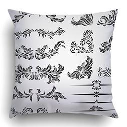Emvency Throw Pillow Covers Black Gothic Calligraphic Design