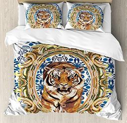 Ambesonne Tiger Duvet Cover Set King Size, Large Cat Crossin