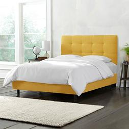 Skyline Furniture Tufted Bed, Twin, Linen French Yellow
